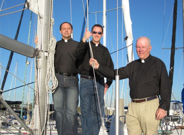 Sailing with priests, San Diego, 2010