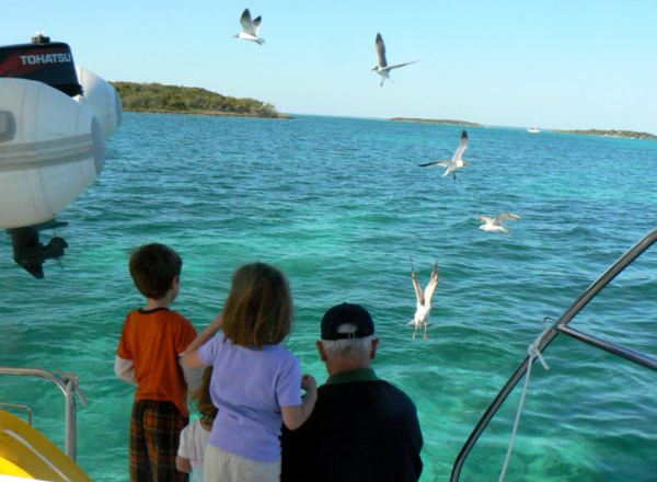 Sailing with Grandkids, Abaco, 2011