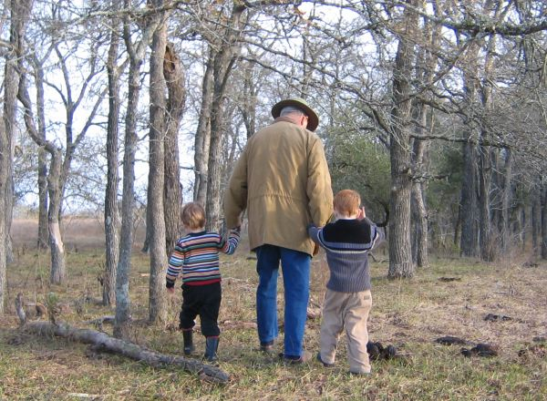 Grandad with grandkids on a hike 2005